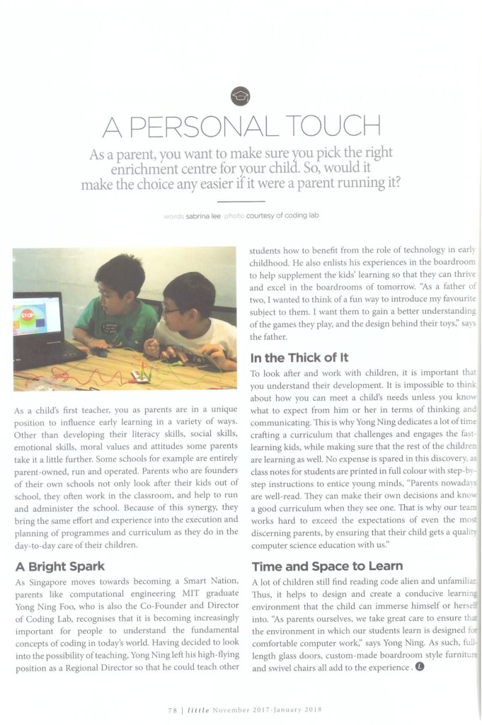 A Personal Touch - Inspiring Passion in Coding with the child-centred approach