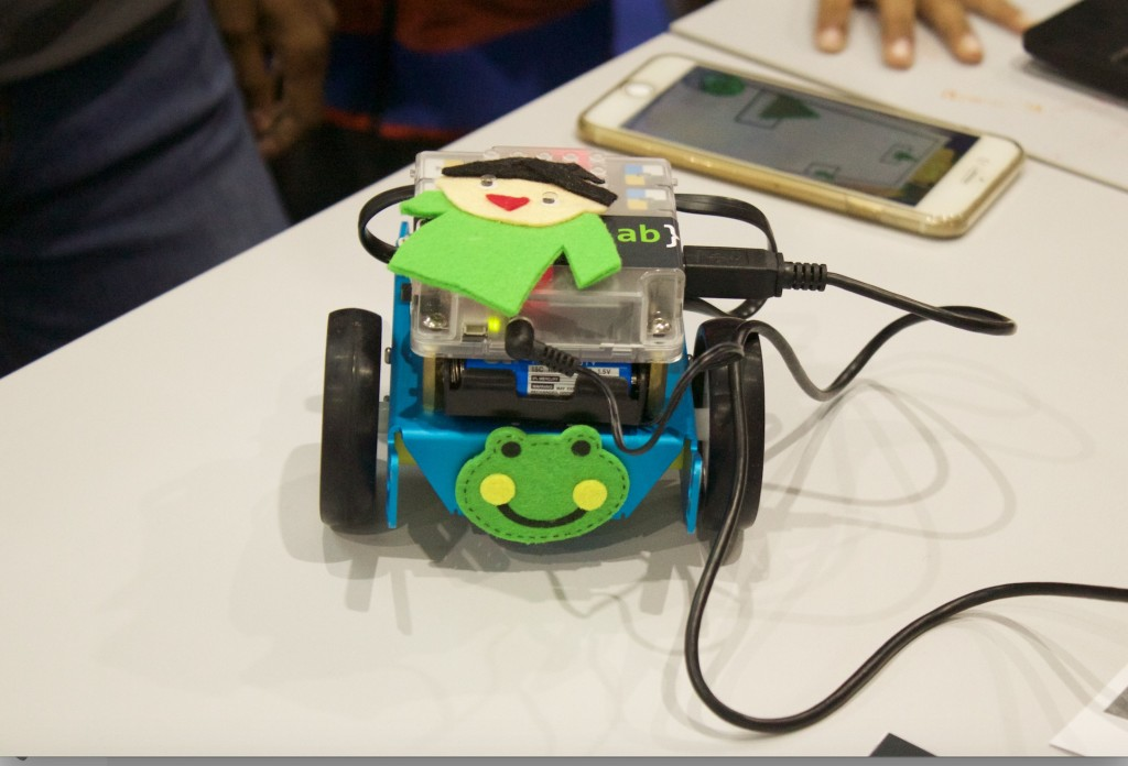 A cute little mBot dressed up by one of the groups