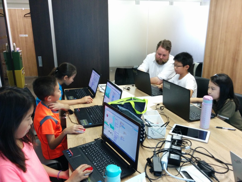 Students in Japan learning how to code using Scratch