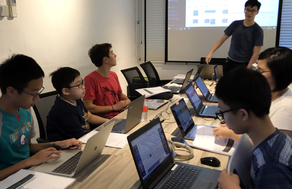 Ian, 1st from left in programming class