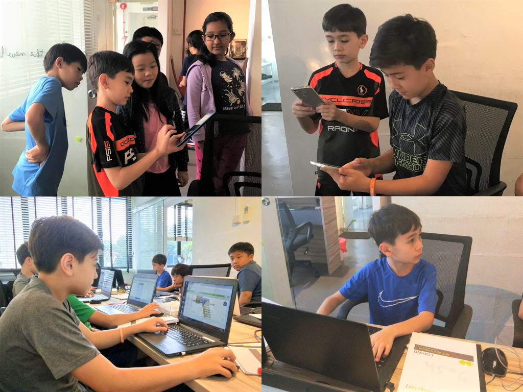 Adam, Joshua and Aaron at Coding Lab's App Inventor class in Singapore