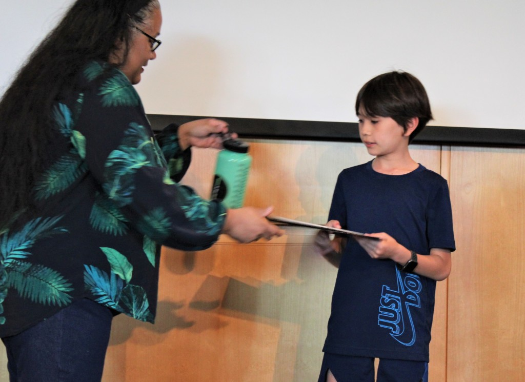 Joshua collecting his certificate for 2nd prize, Advanced Category