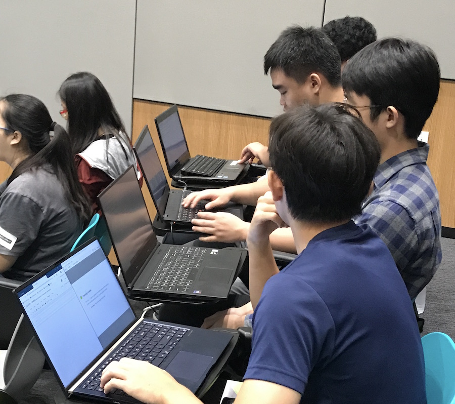 Participants attending the training