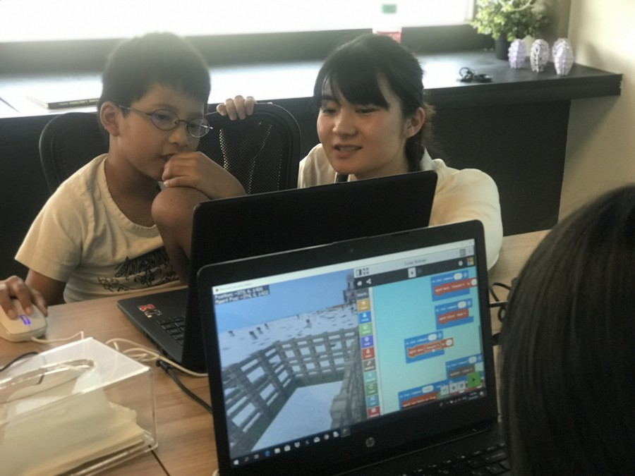 Students in Singapore attending one of the Minecraft Cup sessions via videoconferencing