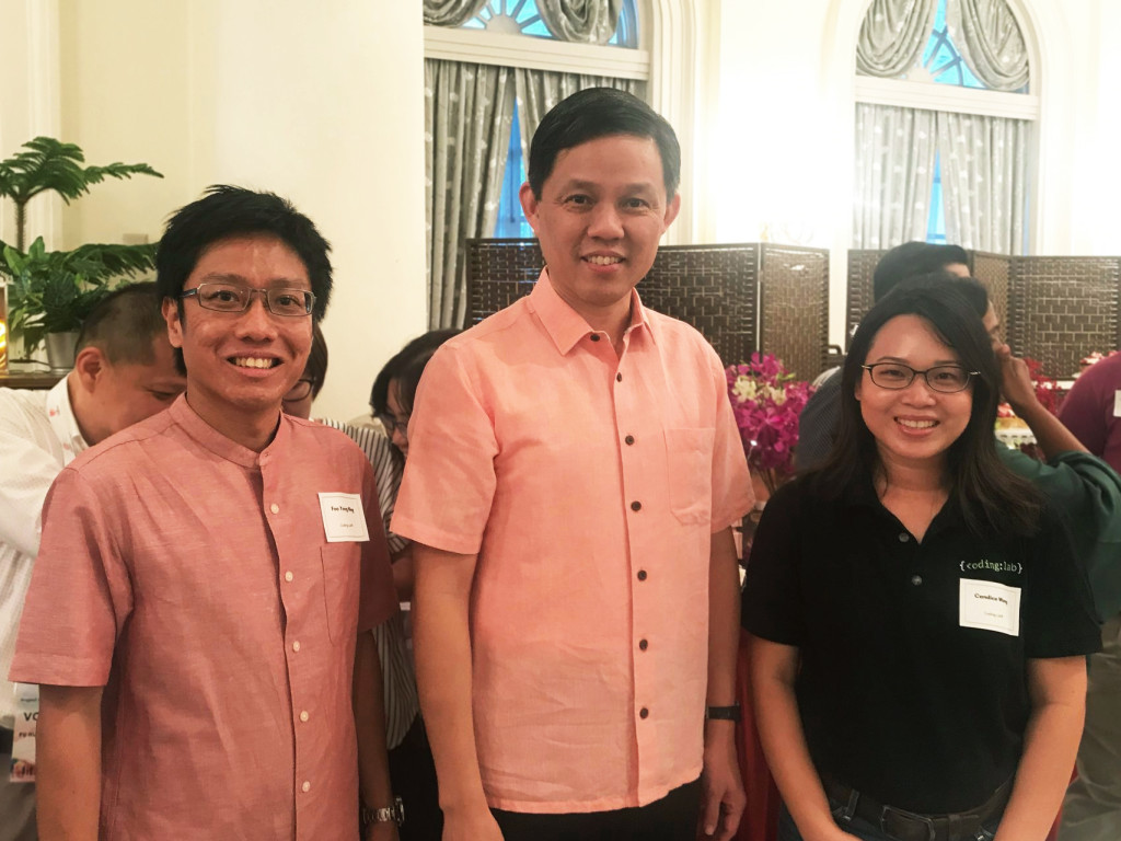 Our Founders with Mr Chan Chun Sing, Deputy Chairman of the People's Association and Minister for Trade and Industry, at the Project We Care event.