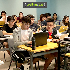 Students learning how to program in Python at NUS