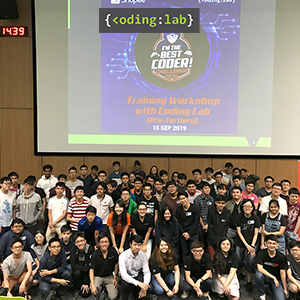 "Participants at Shopee's ""I'm The Best Coder"" Training with Coding Lab"
