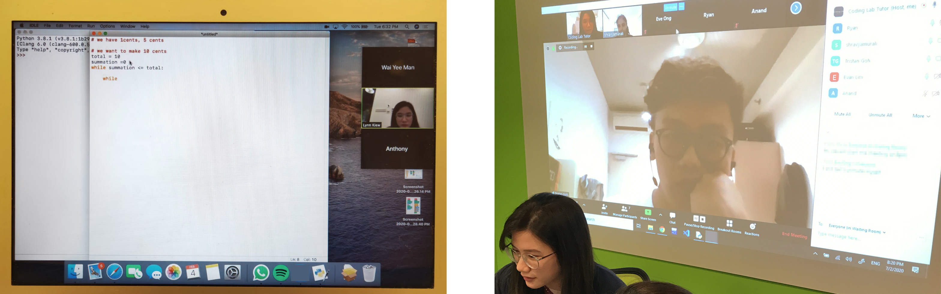 One of our first LIVE video conferences in action with our student (left) and our tutors' e-learning training (right).
