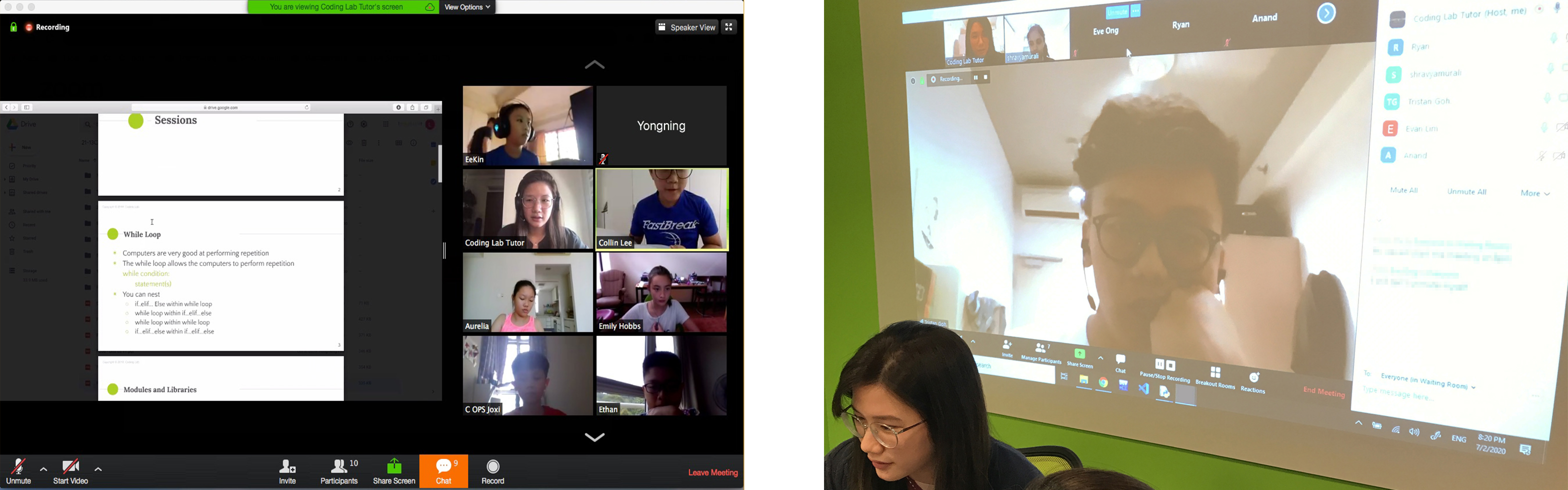 One of our LIVE video conferences in action with our students (left) and our tutors' e-learning training (right).