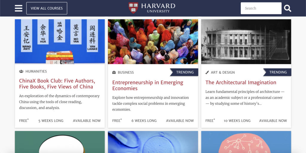 Screenshot of Harvard's page of free online courses