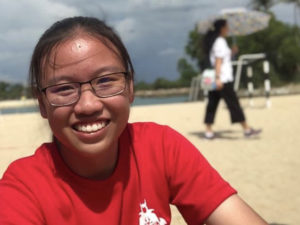 Photo of Emily, the JC2 student from Dunman High's Robotics Club.