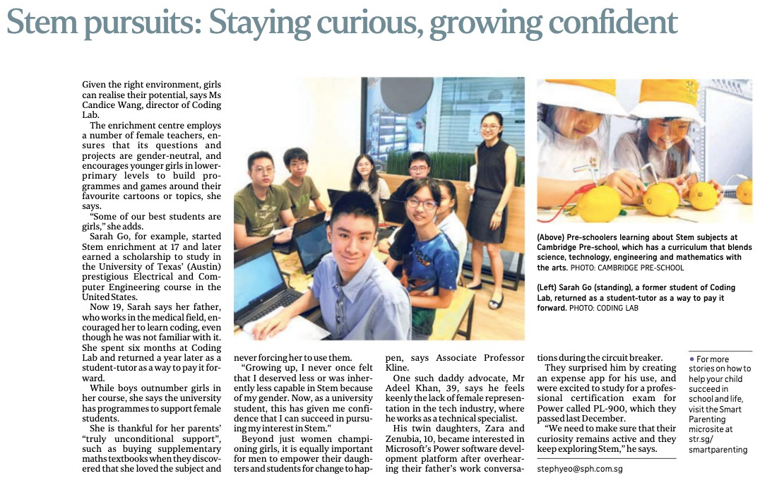 The Straits Times feature - Gender gap in Stem sector: Support from parents is crucial to help girls excel