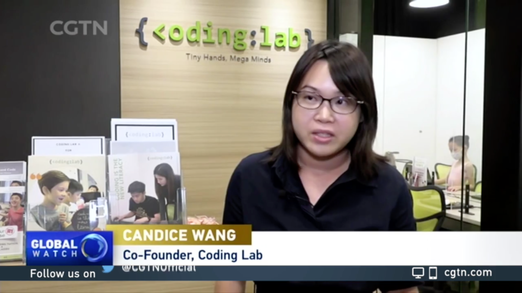 CGTN Feature - Co-Founder of Coding Lab, Candice, being interviewed at our Bukit Timah (KAP Mall) Campus