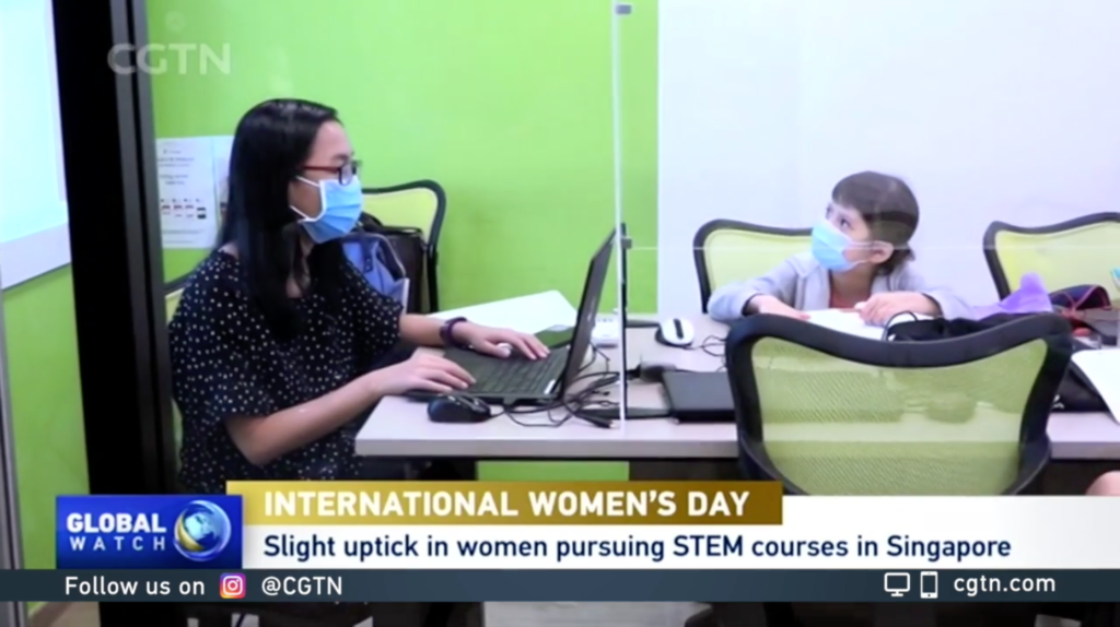 CGTN Feature - Our female educator Salena and female student in class at Bukit Timah (KAP Mall) Campus