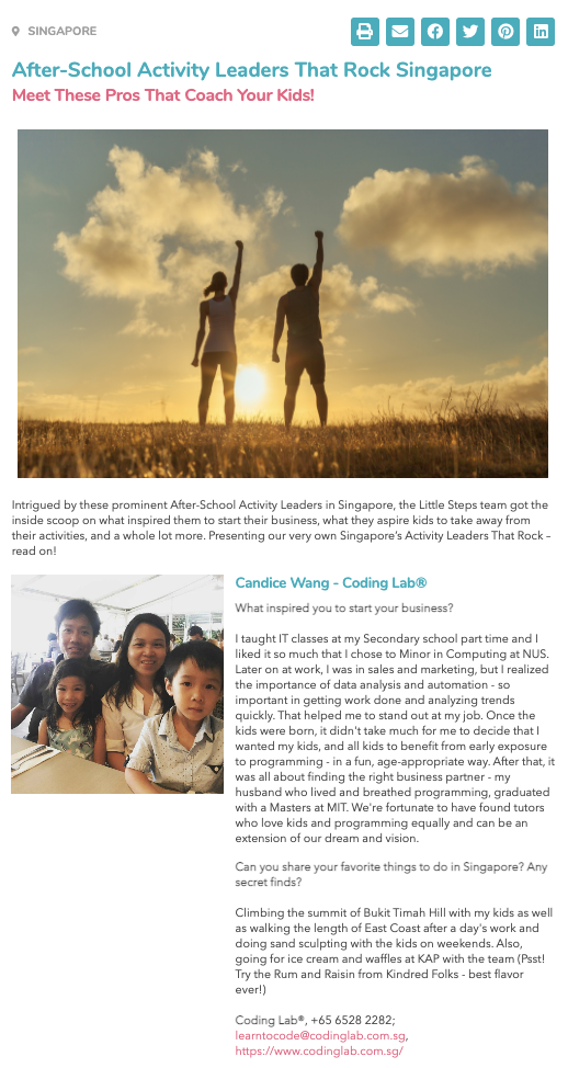 Screenshot of our feature on Little Steps Asia