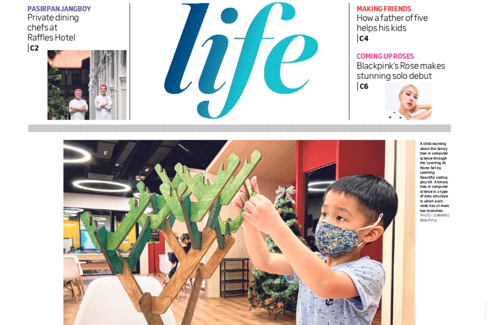 Photo of Life! Front Cover feature of 5-year-old Mitchell playing with Learning Beautiful in our Junior Coders Programme (J11S) Header